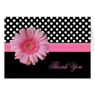 Stylish Polka Dot & Pink Daisy Thank You Card