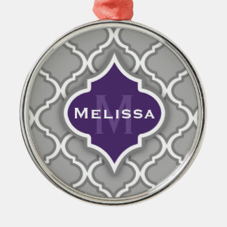 Stylish Purple and Gray Moroccan Tile Pattern Christmas Ornament