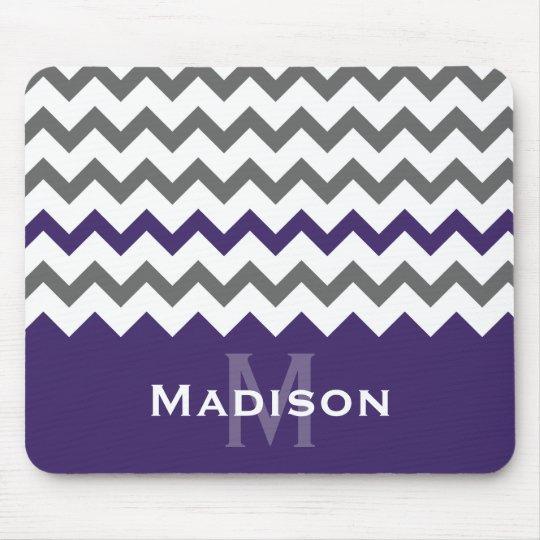 Stylish Purple and Grey Chevron Pattern Mouse Mat