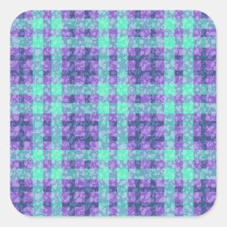 Stylish Purple And Teal Checks Pattern Square Sticker