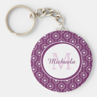 Stylish Purple and White Hearts Monogram and Name Key Ring