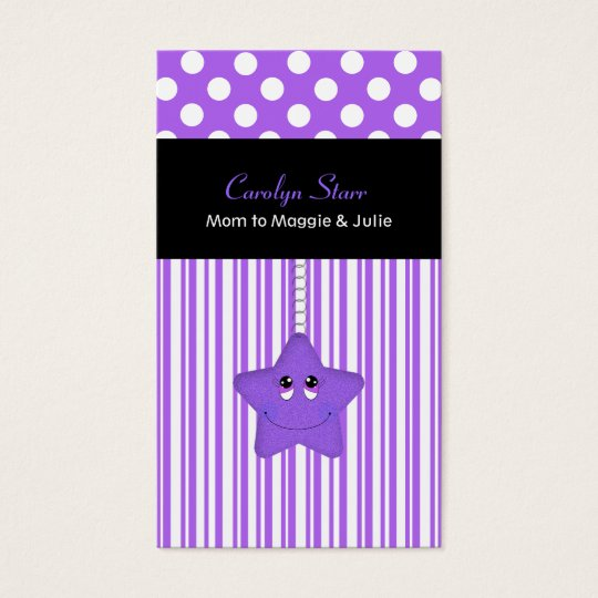 Stylish Purple and White Star Mummy Card