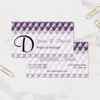 Stylish Purple Faux Metal Diamond Square Pattern Business Card