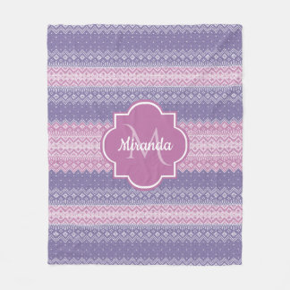 Stylish Purple Knit Pattern With Monogram and Name Fleece Blanket