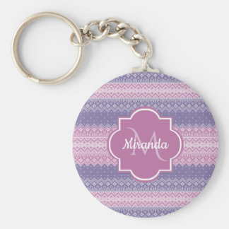 Stylish Purple Knit Pattern With Monogram and Name Key Ring