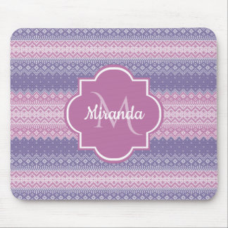 Stylish Purple Knit Pattern With Monogram and Name Mouse Mat