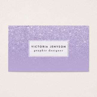 Stylish purple lavender glitter ombre color block business card