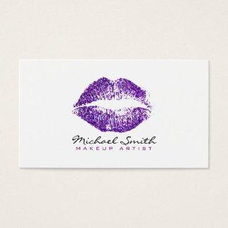 Stylish Purple Lips Makeup Artist #2 Business Card