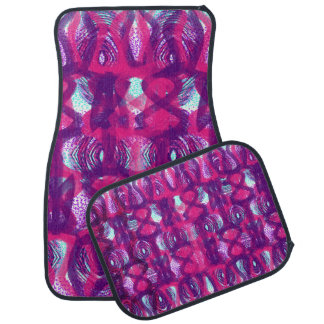 Stylish Purple Pink Abstract Patterned Car Mat