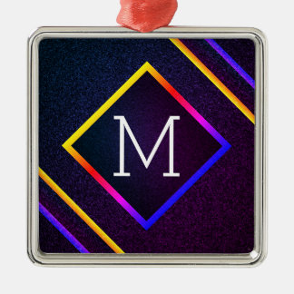 Stylish Purple & Rainbow Outlines With Monogram Christmas Ornament