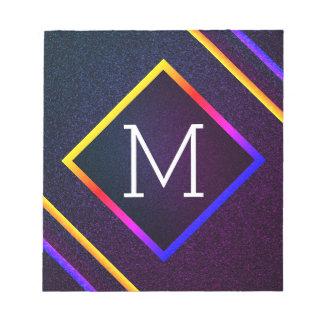 Stylish Purple & Rainbow Outlines With Monogram Notepad