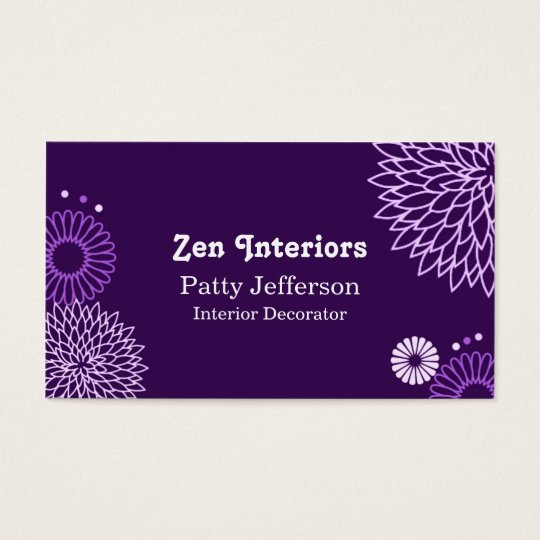 Stylish Purple Tones Floral Business Card