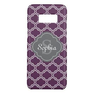 Stylish Purple Trellis Gray Monogram Case-Mate Samsung Galaxy S8 Case