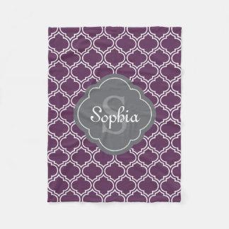 Stylish Purple Trellis Gray Monogram Fleece Blanket