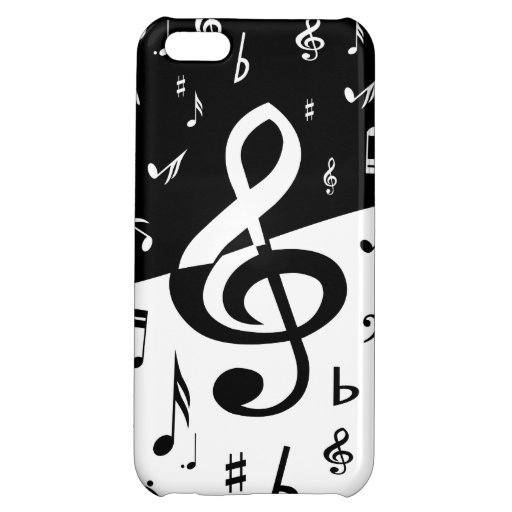 Stylish random musical notes design in black and w iPhone 5C cases