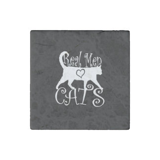 Stylish Real Men Love Cats on a black decor Stone Magnet