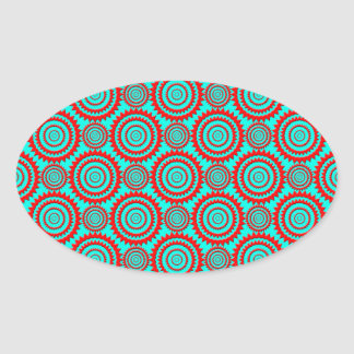 Stylish Red and Turquoise Modern Pattern Oval Sticker
