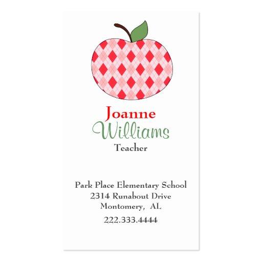 Stylish Red Argyle Apple Teacher Business Card