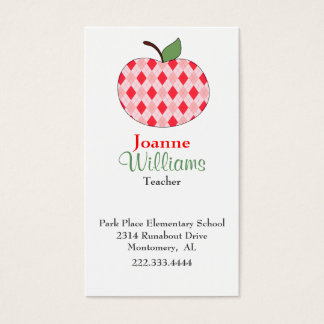 Stylish Red Argyle Apple Teacher Business Card