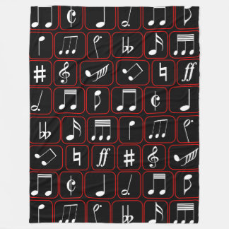 Stylish Red Black and White Geometric Music Notes Fleece Blanket