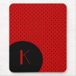 Stylish Red & Black Polka Dot Monogram Mousemats