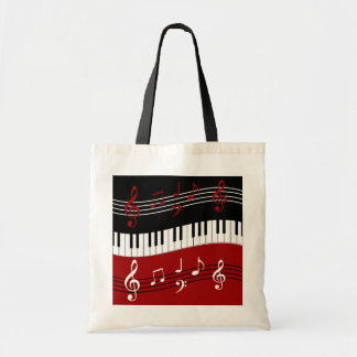 Stylish Red Black White Piano Keys and Notes Budget Tote Bag