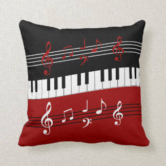 Stylish Red Black White Piano Keys and Notes Cushion