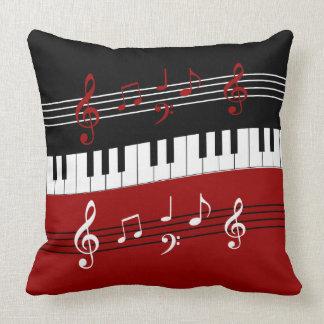Stylish Red Black White Piano Keys and Notes Cushion