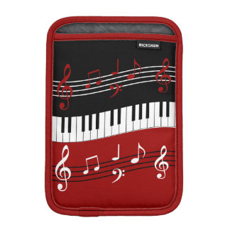 Stylish Red Black White Piano Keys and Notes iPad Mini Sleeve