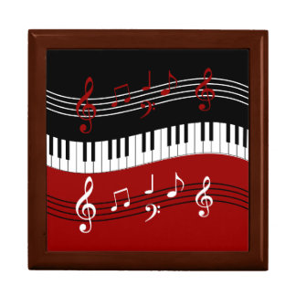 Stylish Red Black White Piano Keys and Notes Large Square Gift Box