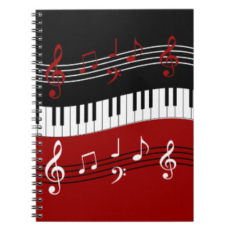 Stylish Red Black White Piano Keys and Notes Notebook