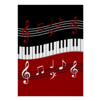 Stylish Red Black White Piano Keys and Notes Poster