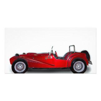 stylish red car photo card