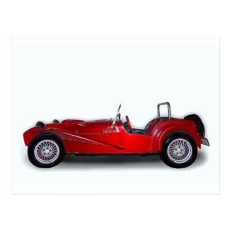 stylish red car postcard