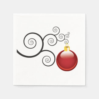 Stylish Red Christmas Ornament Disposable Serviettes