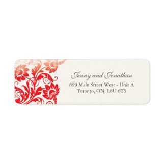 Stylish Red Floral RSVP Address Labels