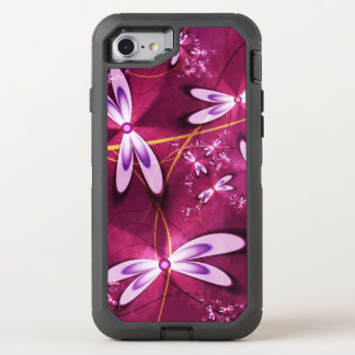 Stylish red Fractal Flowers OtterBox Defender iPhone 8/7 Case