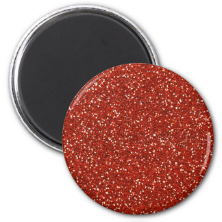 Stylish  Red Glitter 2 Inch Round Magnet
