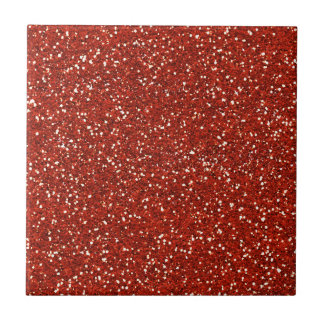 Stylish  Red Glitter Small Square Tile