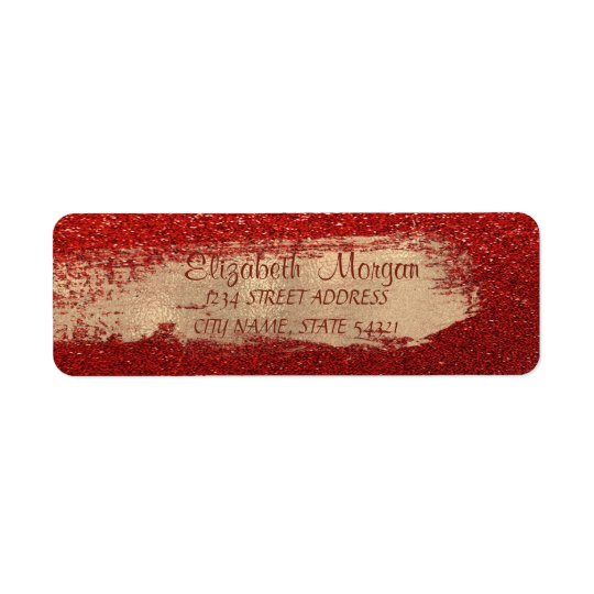 Stylish Red Glittery,Brush Stroke   Address Label