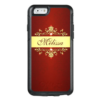 Stylish Red Gold Floral OtterBox iPhone 6/6s Case