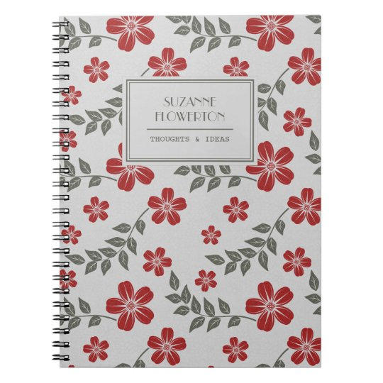 Stylish Red Grey Flowers and Leaves Personalised Notebook