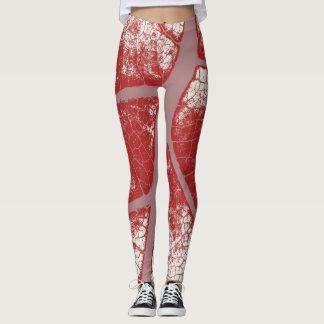Stylish Red Leaf Leggings
