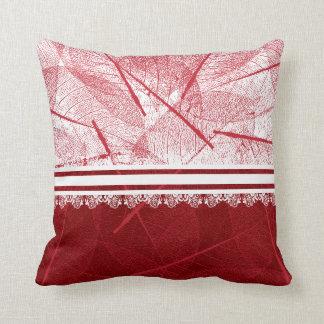 Stylish Red Vein Leaf Design Throw Pillow