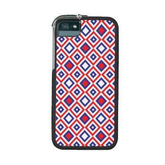 Stylish red white blue retro diamonds case for iPhone 5/5S