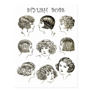 Stylish Retro Bob Hairstyles Postcard