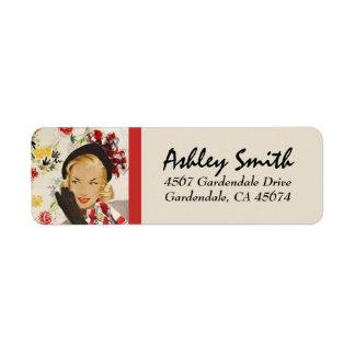 Stylish Retro Lady Return Address Return Address Label