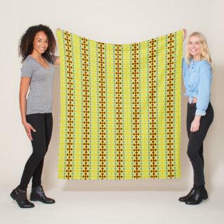 Stylish-Retro-Lime-Brown-Stripes-Fleece-SML Fleece Blanket