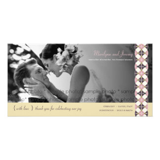 Stylish Retro Vintage Art Deco Wedding Thank You Photo Card