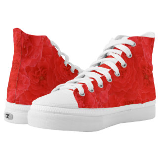 Stylish Rich Red Velvety Rose Blossoms Collage Printed Shoes